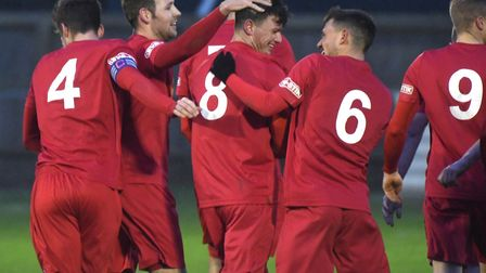 Wisbech Town players celebrate Danny Setchell's equaliser against Carlton. Picture: IAN CARTER
