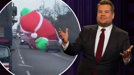 Wisbech was featured on The Late Late Show with James Cordon in America after an inflatable Santa bl