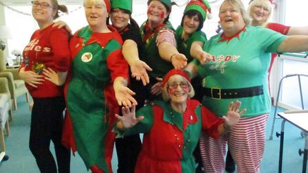 Staff and volunteers at Hickathrift House in Marshland St James swapped their work outfits for elf c