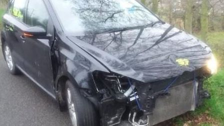 This crash damaged car was stopped by police on its way to Wisbech. Picture: NORFOLK CONSTABULARY.