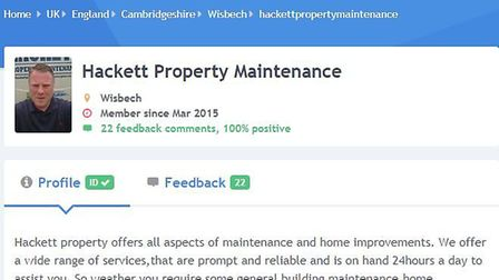 Ms Adams said she found Mr Hackett, who operates under the name Hackett Property Maintenance, on the