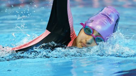 Knightsfield pupil Haleema Hussain, part of the team that won the national under-18 deaf swimming ch