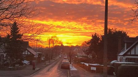 A stunning sunrise on a snowy day in Potters Bar. Picture: Stuart Gibson