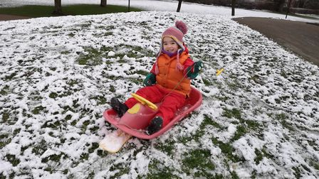 Three-year-old Penelope enjoying some winter sports at King George playing fields in Welwyn Garden C
