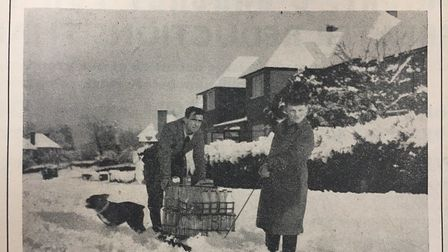 A milk delivery slightly delayed in the Welwyn Times, January 1951. Picture: Archant