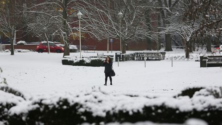 Snow in Welwyn Garden City town centre. Picture: DANNY LOO