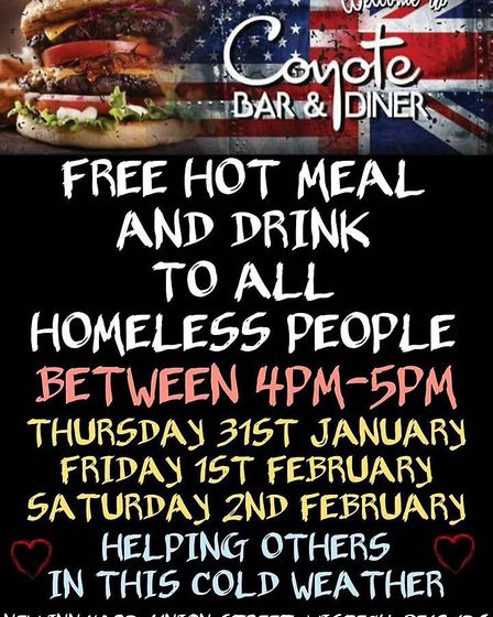 A bar and diner in Wisbech is offering up free hot meals and drinks to the homeless during the count