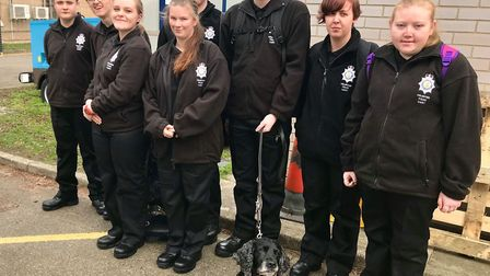 Wisbech Meadowgate Volunteer Police Cadets on their tour of police headquarters. Whilst there they m