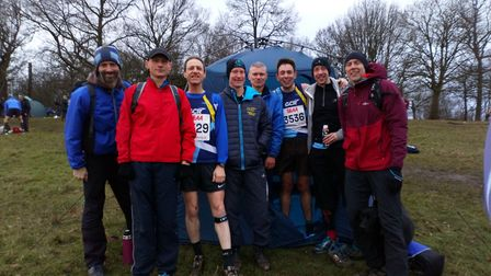 Garden City Runners' team of eight that tackled the Southern Seniors Cross Country Championship at P