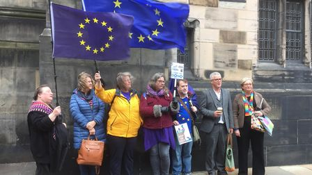 SNP MP Joanna Cherry (right), alongside Jolyon Maugham QC, with campaigners outside Court of Session