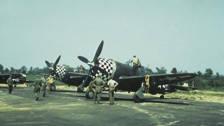 P-47 Thunderbolt aircraft of the 83rd Fighter Squadron, 78th Fighter Group at Duxford. Between April