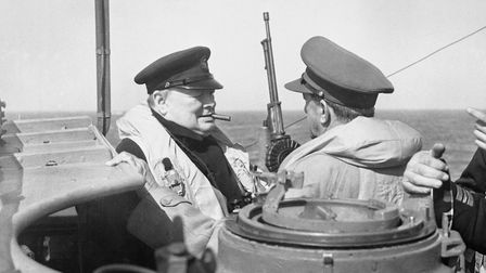 British Prime Minister Winston Churchill was taken to the Normandy coast on 12 June 1944 on board HM