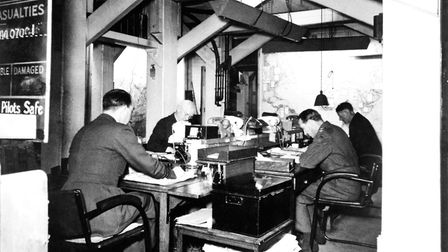 Map Room officers at work in the Cabinet War Rooms, 1945. Visit Churchill War Rooms for D-Day 75 in