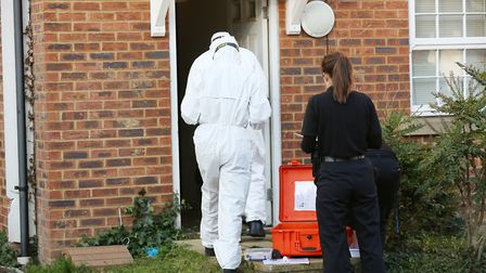 A Police Scientific Services Unit outside a house in Errington Close, Hatfield. Picture: DANNY LOO