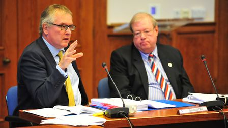 Cllr Simon King, right, at his conduct hearing at Fenland Hall, March, last October. Picture: HARRY