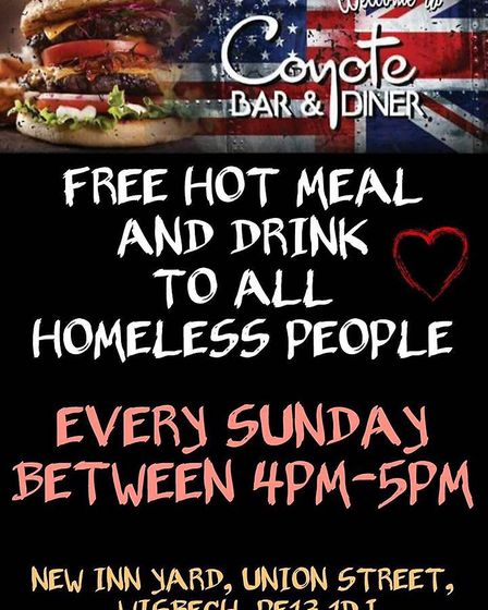 A Wisbech bar and diner are set to give the homeless free hot food and drink every week after runnin