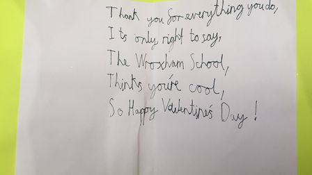 One of the Valentine's cards penned by a pupil at Wroxham Primary in Potters Bar. Picture: Red Lette
