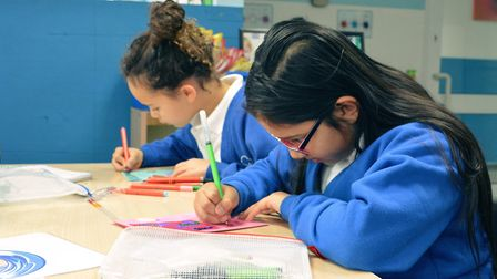 Kids from Wroxham Primary got to work in a flurry of glitter, glue and penmanship to create Valentin