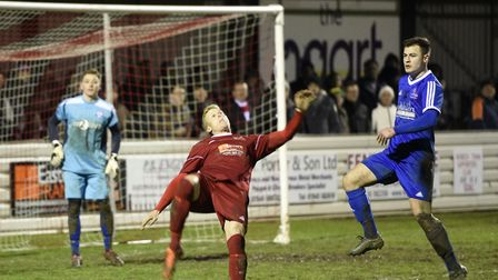 Wisbech Town striker Michael Frew scored the opening goal at AFC Mansfield. Picture: IAN CARTER
