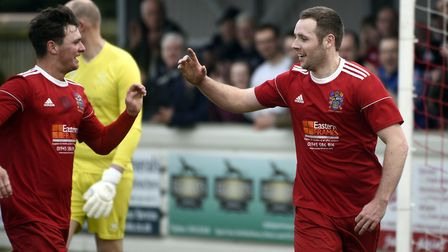 Alex Beck (right) scored moments after being introduced as a Wisbech Town substitute at AFC Mansfiel