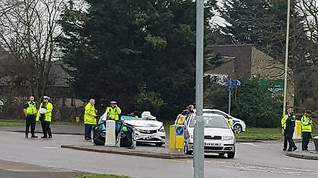 Emergency services are dealing with a crash in Ridgeway in Welwyn Garden City. Picture: Supplied