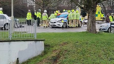 Emergency services on the scene of a crash in Ridgeway in Welwyn Garden City. Picture: Chris Caley