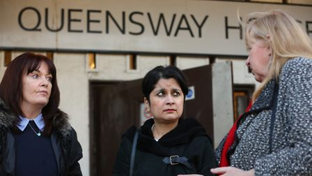 Baroness Shami Chakrabarti with Labour candidate Rosie Newbigging at Queensway House, Hatfield. Pict