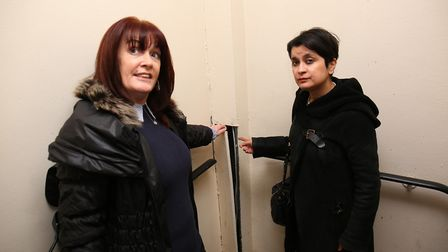 Baroness Shami Chakrabarti is shown some looks at exposed electrical wiring at Queensway House, Hatf