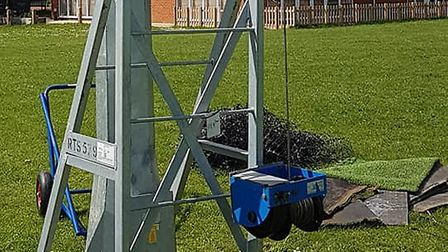 The winch, cabling and pulleys were stolen from Codicote FC's floodlight lifting frame at the John C