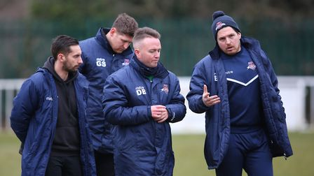 Welwyn Garden City's backroom staff will have plenty to discuss after the loss to Corby. Picture: DA