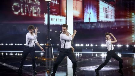 James and Oliver with dance captain Matthew Morrison in their performance at the final of BBC One's