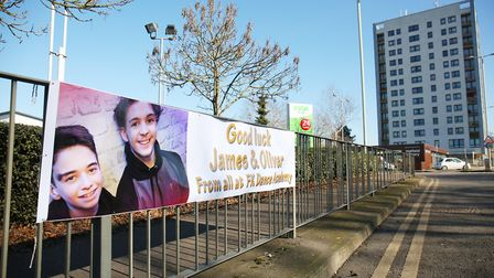A banner outside ASDA in Hatfield showing support for The Greatest Dancer contestants James and Oliv