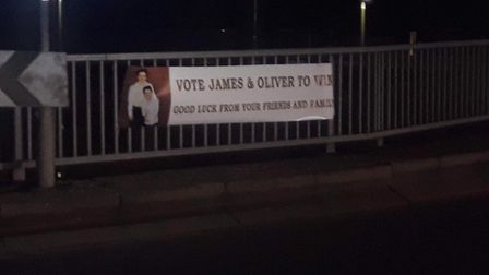Banners have appeared around Hatfield supporting James and Oliver in BBC One's The Greatest Dancer.