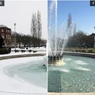 Coronation Fountain in Welwyn Garden City: late February 2018 and late February 2019. Pictures: Dann