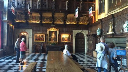 The Marble Hall at Hatfield House as it looks today. This room was used for a number of scenes from