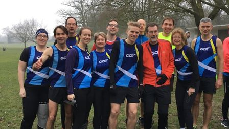 Garden City Runners fly the club colours on their trip to Gadebridge Parkrun in Hemel Hempstead.