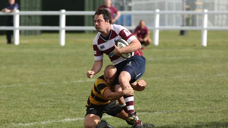 Joshua Digby-Davies tackles Oliver Di-Lieto in the match between Letchworth and Welwyn. Picture: DAN