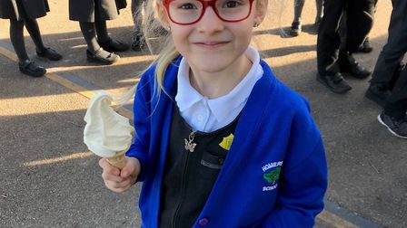 Homerswood pupil Dominika is excited about her ice cream.