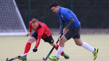 David Allmand-Smith takes on John Mould in the match between Stevenage v WGC mens 1's. Picture: DANN