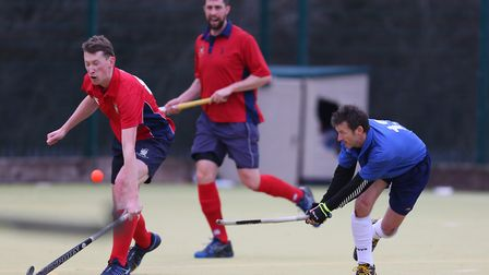 Mark Skilbeck fires in a backhanded shot in the match between Stevenage v WGC mens 1's. Picture: DAN