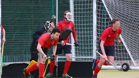 Stevenage defend a penalty corner in the match between Stevenage v WGC mens 1's. Picture: DANNY LOO