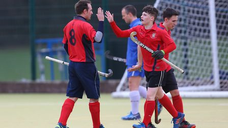 Stevenage celebrate their third goal in the match between Stevenage v WGC mens 1's. Picture: DANNY L