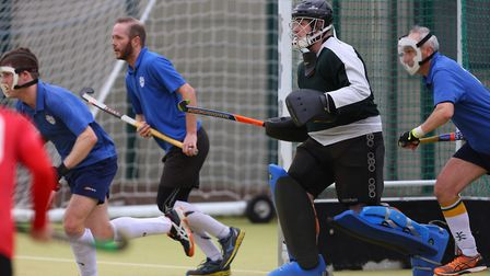 Welwyn Garden City defend a penalty corner in the match between Stevenage v WGC mens 1's. Picture: D