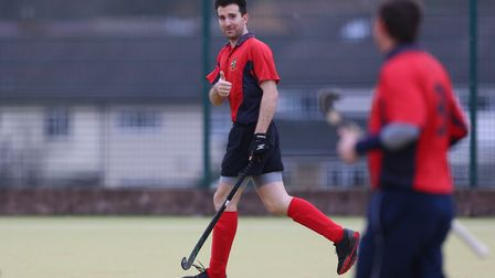 Andy Gardner gives the thumbs up after scoring in the match between Stevenage v WGC mens 1's. Pictur