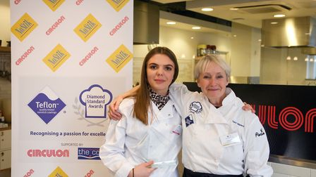 (L-R) Winning pupil Ruby Dyer with celebrity chef Lesley Waters. Picture: Dupree Creative