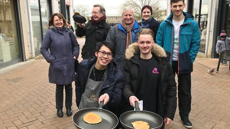 Welwyn Hatfield councillor Bernard Sarson with contestants at last year's Pancake Day Race in Hatfie