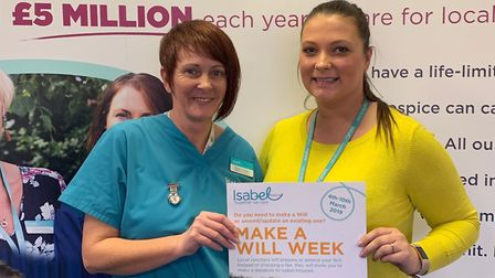 Isabel Hospice healthcare assistant Mandy Rogers with legacy and in memorium fundraising Manager Hea