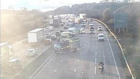 Two lanes of the M25 clockwise are closed near Potters Bar. Picture: Archant