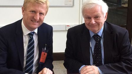 Potters Bar's MP Oliver Dowden with Cllr Terry Douris in 2017. Picture credit: Mr Dowden's office.