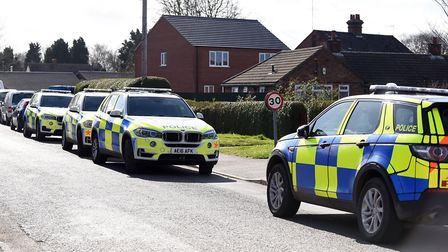 The large police response at the home on Goodens Lane in Newton near Wisbech where a man threatened